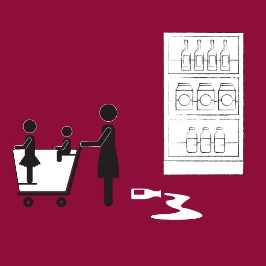 A family walks through. Child in cart spills milk.